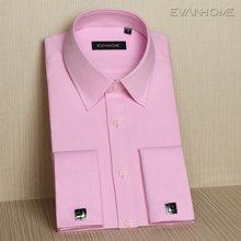 Evanhome/艾梵之家 修身款粉红色法式提花衬衫男长袖礼服衬衣男正装EF15903