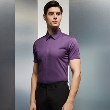 Evanhome/艾梵之家 商務修身款襯衫男短袖夏季薄款絲光棉襯衣男士職業裝襯衫DX12819