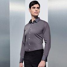 Evanhome/艾梵之家 新款长袖衬衫修身法式袖扣商务衬衫男士衬衣纯色斜纹CF001-1