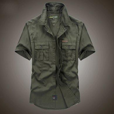 战地吉普 夏季新款宽松?#21487;?#30701;袖?#32435;?#30007;士大码衬衣