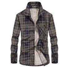 战地吉普 冬季新款男士加绒格子长袖衬衫休闲保暖衬衣外套
