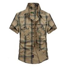 战地吉普 夏季新款时尚百搭格子短袖衬衫大码男装衬衫