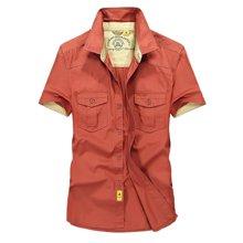 战地吉普 夏季新款时尚拼色军装男士休闲衬衣大码男装短袖衬衫