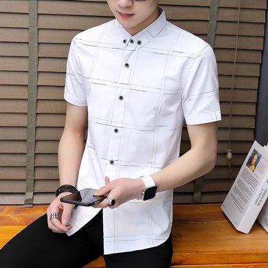 芃拉短袖?#32435;?#30007;帅气潮流格子寸衫男装青年短袖衬衣男夏季修身衣服ZY002