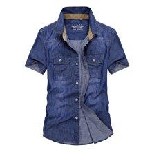 战地吉普 夏季新款休闲百搭男士牛仔短袖衬衫经典衬衣打底衫