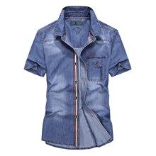 战地吉普 夏季新款韩版修身牛仔短袖衬衫休闲大码男士衬衣打底衫