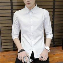芃拉夏季半袖襯衫韓版潮流男士短袖學生7分袖白襯衣男帥氣中袖上衣HST6012