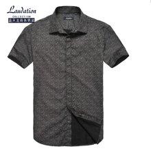 藍天龍男裝 夏天新款短袖襯衫男裝商務休閑印花款短袖襯衫 8629