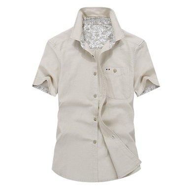 戰地吉普 夏季新款休閑棉麻男裝商務上衣男士短袖襯衫打底衫襯衣
