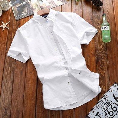 戰地吉普 夏季新款純色休閑透氣簡約時尚青年襯衣男士短袖襯衫