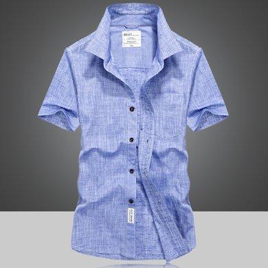 戰地吉普 夏季新款休閑百搭純色大碼男裝短袖襯衫簡約襯衣打底衫