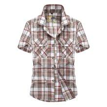 战地吉普 夏季新款时尚格子大码男装衬衫休闲百搭男士短袖衬衣