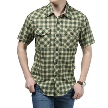 战地吉普 夏季新款休闲宽松格子口袋衬衣男士短袖衬衫打底衫