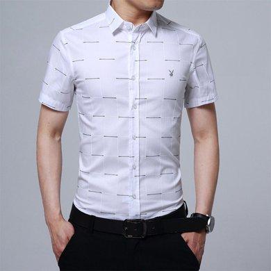 花花公子貴賓 夏季新款男士襯衫時尚修身格子襯衣青年商務休閑男式短袖襯衫