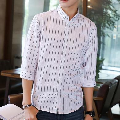 富貴鳥男裝2019夏季韓版修身豎條紋七分袖白襯衫潮流短袖襯衣服男帥氣百搭S58