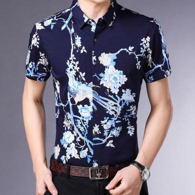 花花公子貴賓 夏季新款男士修身短袖襯衫中青年時尚休閑印花襯衣男
