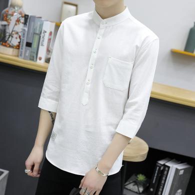富貴鳥男裝2019夏男士襯衫短袖韓版修身七分袖襯衫休閑半袖上裝S20