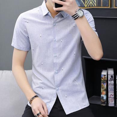芃拉夏季新款短袖襯衫男青年豎條紋商務寸衣時尚英倫修身男裝襯衣ZQ286