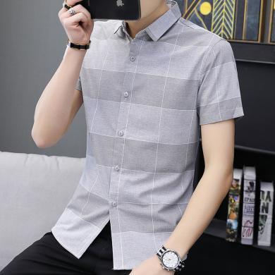 芃拉2019夏季新款男士?#32435;?#30007;短袖青少年休闲格子薄款韩版修身寸衫ZQ290