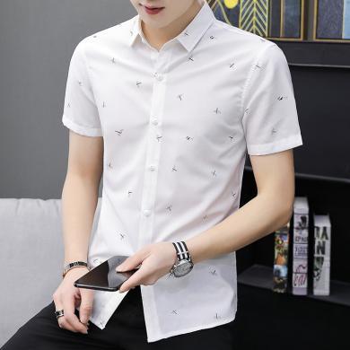 芃拉夏季短袖襯衫男士韓版修身青少年襯衣潮男裝休閑寸衫白色衣服ZQ296