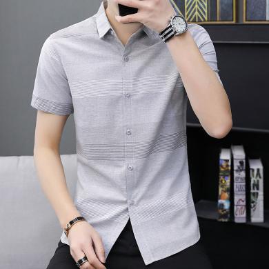 姝奕?#32435;?#30007;短袖夏季薄款青少年韩版潮流男士寸衫2019新款学生衬衣ZQ288