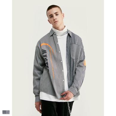 EastLevel 2019秋冬新款街頭個性條紋拼接圓弧下擺寬松長袖男式襯衫 cs18