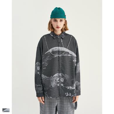 EastLevel 2019年秋季新品高街掉肩燈籠袖滿版條紋印花寬松男式襯衫 cs06