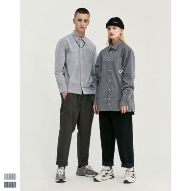 EastLevel 2019秋冬新款個性潮牌歐美簡約條紋抽繩下擺男式寬松襯衫 cs21