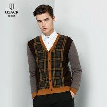 OJACK2018欧尼杰时尚羊毛衫男青年秋冬新款拼色条纹长袖针织开衫 DYA7639