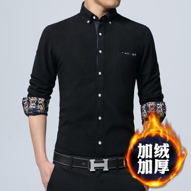 富贵鸟男装冬季新款棉灯芯绒加绒保暖衬衫长袖韩版男士加厚条绒保暖衬衣CSALR005