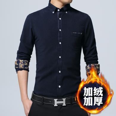 富貴鳥男裝冬季新款男士燈芯絨長袖保暖襯衫加絨加厚韓版冬季修身時尚襯衣CSLR005