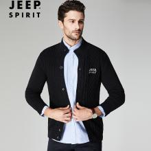 JEEP/吉普 秋冬男士开衫毛衣立领宽松棉质大码男装开衫针织毛衫外套 JPCS18126W