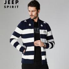 JEEP/吉普 秋冬男士条纹开衫毛衣立领宽松大码男休闲开衫针织毛衫外套 JPCS18060W