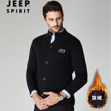 JEEP/吉普 冬季男士加绒开衫毛衣立领棉质宽松大码男休闲开衫针织毛衫 JPCS18126BW