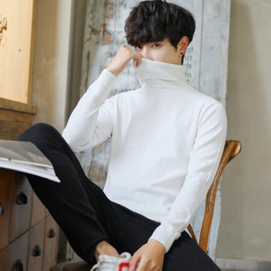 庫依娜新款毛衣男高領休閑純色打底針織衫都市時尚修身保暖套頭毛衣MLS18708