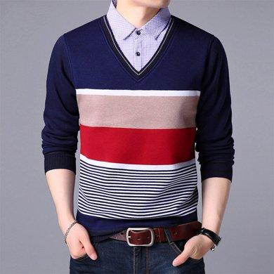 花花公子貴賓 秋冬新款針織衫男假兩件男士毛衣青年休閑男裝套頭衫