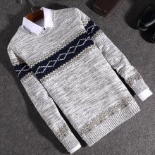沐羊新青年韩版休闲男薄款拼色条纹套头圆领针织衫5806-M5