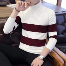 花花公子贵宾 秋冬装新款拼色高领男士毛衣修身男士针织衫打底衫