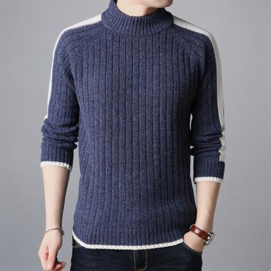 花花公子貴賓 韓版修身條紋半高領毛衣男中青年潮流男士薄款針織衫