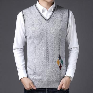 花花公子貴賓 新款中年男士針織馬甲背心無袖V領休閑男士修身上衣