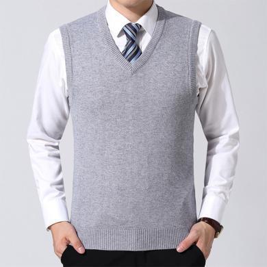 花花公子貴賓 新款中年男士無袖V領時背心休閑爸爸裝修身上衣