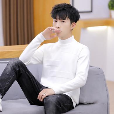 芃拉2019新款韓版針織衫套頭半高領男士毛衣純色打底男式羊毛男裝LDZ601