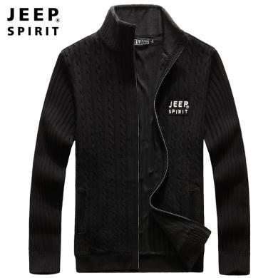 JEEP/吉普 2019秋冬男士加絨開衫針織衫立領棉質寬松大碼男款休閑毛衫外套 JPCSC005Z