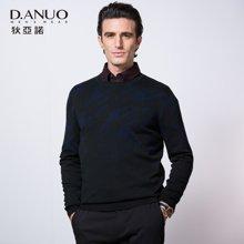 狄亚诺秋季新款男士商务圆领套头提花羊毛衫 针织衫男  241609