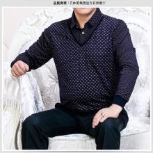 芃拉秋冬男士假两件冬装针织衫翻领宽松加绒加厚保暖毛衣打底衫KYZ201