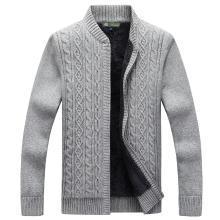戰地吉普 秋冬裝新款舒適保暖加絨加厚開衫毛衣外套時尚男裝立領毛衫