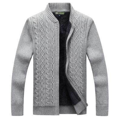 战地吉普 秋冬装新款舒适保暖加绒加厚开衫毛衣外套时尚男装立领毛衫