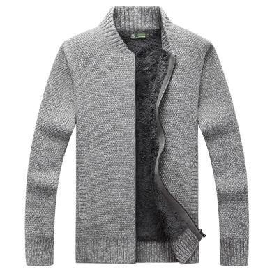 战地吉普 冬季新款男装时尚简约立领毛衣加绒加厚开衫毛衣外套男