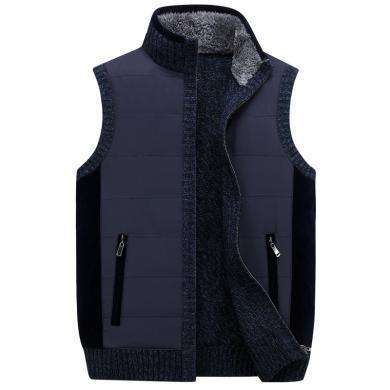 戰地吉普 秋冬裝新款男裝無袖立領毛衣馬甲外套加厚背心毛衫男