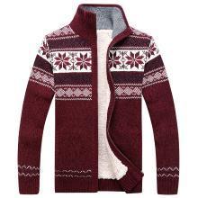 戰地吉普 秋冬裝新款男裝開衫毛衣外套加絨加厚保暖長袖立領毛衫男